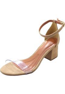 Sandã¡Lia Mais Sapato Salto Grosso Bege - Bege - Feminino - Dafiti