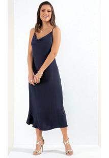 Vestido Azul Barra Assimétrica Com Babado