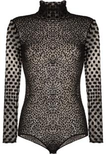 Alexia Hentsch Sheer Polka Dot Velvet Bodysuit - Preto