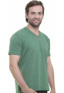 Camiseta Decote V Masculina - Masculino-Verde Militar