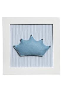 Quadro Decorativo Corôa Quarto Bebê Infantil Menino Potinho De Mel Azul