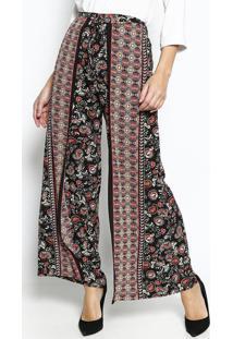 Calça Pantalona Com Amarração- Preta & Vermelha- Le Le Fix