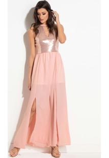 Vestido Quintess Longo Rosê Com Frente Em Paete
