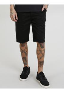 Bermuda De Sarja Masculina Slim Preta