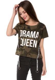 Blusa T-Shirt Camuflada Drama Queen Faixa Nice Pop Me Feminina - Feminino-Verde