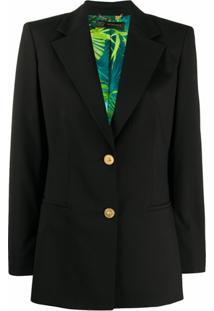 Versace Blazer Com Estampa De Selva No Forro - Preto