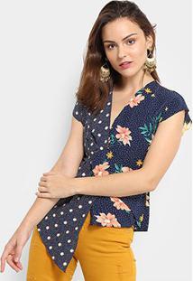 Blusa Assimétrica Jin Floral Feminina - Feminino-Azul