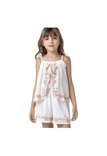Macacáo Curto Flores Off White Petit Cherie 10 Off-White