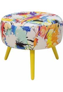 Puff Decorativo Sofia Redondo Estampado Color D18 Pés Amarelo D'Rossi
