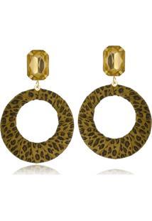 Brinco Le Diamond Geométrico Animal Print Dourado - Tricae