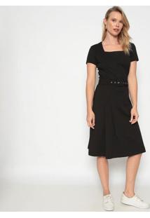 Vestido Texturizado Com Cinto - Pretodudalina