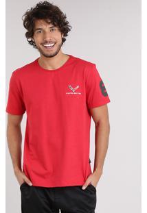 "Camiseta Masculina Tal Pai Tal Filho Com Bordado ""Corvette"" Manga Curta Gola Careca Vermelha"