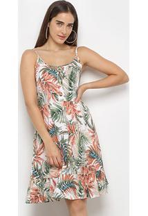 Vestido Curto Lily Fashion Folhagem C/ Botões - Feminino-Off White