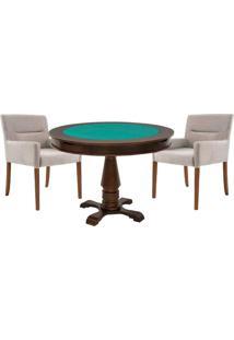 Mesa De Jogos Carteado Victoria Redonda Tampo Reversível Imbuia Com 2 Cadeiras Vicenza Nude - Gran Belo