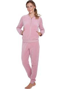 Pijama Inspirate Plush De Inverno Rosê Com Zíper