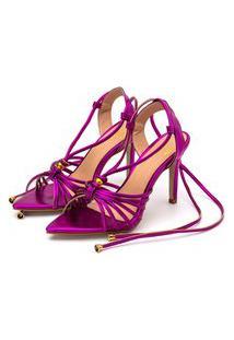 Sandália Salto Fino Flor Da Pele Pink Holográfico