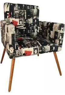 Poltrona Decorativa Nina Suede Charlie Chaplin Vintage - Ds Móveis - Kanui