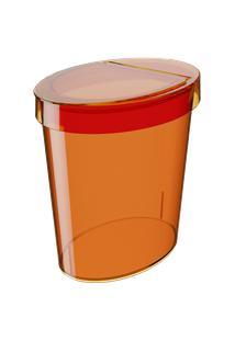 Lixeira Oval Glass 26,2 X 18,4 X 24,6 Cm 5 L Tangerina Coza