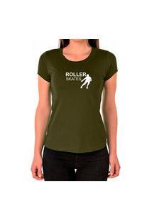 Camiseta Feminina Algodão Patins Confortável Dia A Dia Verde Militar