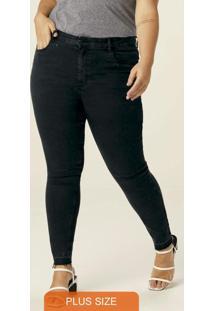 Calça Preta Push Up Jeans Feminina Plus