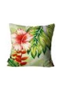 Capa Para Almofada Premium Peluciada Mdecore Floral Verde 45X45Cm