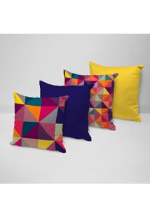 Kit 4 Capas Para Almofadas Decorativas Geométricos Multicolor 35X35Cm