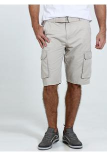 Bermuda Masculina Sarja Cinto Bolsos Marisa