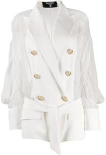 Balmain Blazer Com Abotoamento Duplo De Seda E Recorte Translúcido - Branco