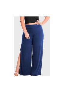 Calça Pantalona Laterais Abertas Cintura Alta Plus Size Lynnce Azul Marinho