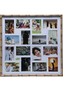 Painel Bambu Collection Para 16 Fotos 10X15 Com Margem Branca - Woodart Marrom
