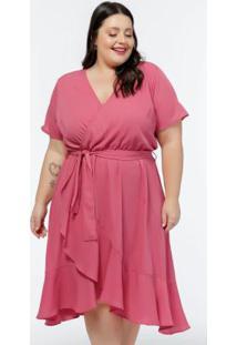 Vestido Plus Size Rosa Transpassado Com Babados