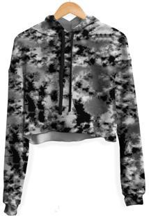Blusa Cropped Moletom Feminino Camuflado Tie Dye Md14 - Preto - Feminino - Poliã©Ster - Dafiti