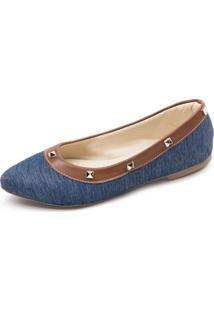 Sapatilha Jeans Com Spike Megachic - Azul - Feminino - Dafiti