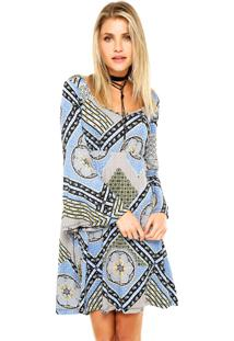 070e2fd032 Dafiti. Vestido Curto Mercatto Geométrico Azul