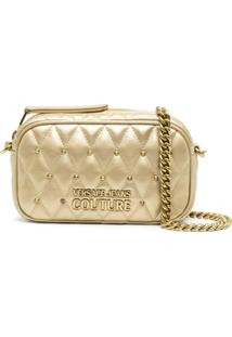 Versace Jeans Couture Metallic Quilted Cross-Body Bag - Dourado