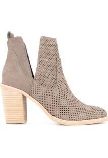 Dolce Vita Ankle Boot Com Recorte De Couro - Marrom
