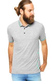 Camisa Polo Calvin Klein Jeans Estampada Cinza