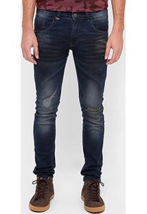 Calça Jeans Skinny Rock & Soda Escura Stone Rasgos Joelho Masculino - Masculino