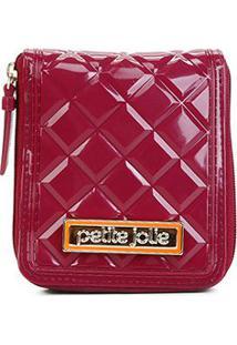 Carteira Petite Jolie J-Lastic Pocket Verniz Feminina - Feminino-Vinho