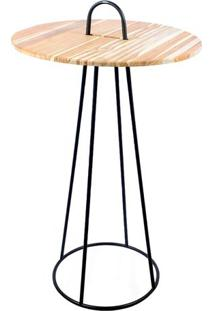 Mesa Bistrô- Bege & Preta- 116X?Ø70Cm- Decor Gladecor Glass