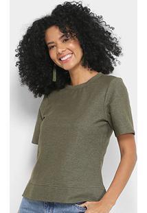 Blusa Cantão Moletinho Corte A Fio Feminina - Feminino-Verde Militar