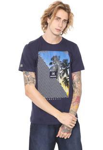 Camiseta Gangster Estampada Azul-Marinho