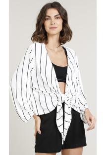 Kimono Feminino Listrado Com Nó Manga Longa Off White
