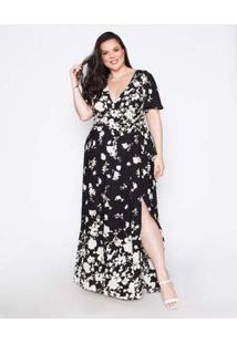 Vestido Almaria Plus Size Pianeta Estampado Preta Preto