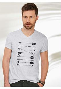 Camiseta Cinza Claro Tradicional Decote V Malwee