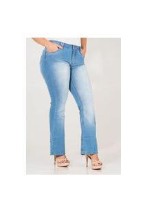 Calça Jeans Feminina Flare Petit Com Bolsos Cós Médio