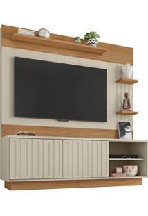 Estante Home Theater Para Tv Até 65 Pol. 2 Portas Clap Buriti/Off Whit