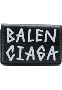 Balenciaga Carteira Mini De Couro Com Estampa 'Graffiti' - Preto