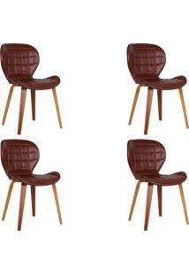 Kit 4 Cadeiras Decorativas De Escritã³Rio Recepã§Ã£O Granclass (Pu) Marrom - Gran Belo - Marrom - Dafiti