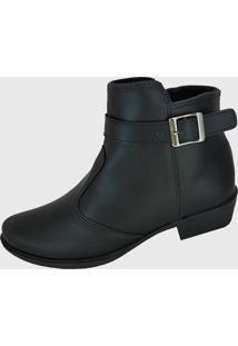Bota Moda Pé Ankle Boots Preta Fivela